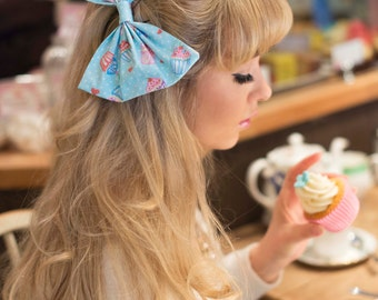Cupcake Oversized Hair Bow Clip - BLUE