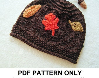 Hat Knitting Pattern - Fall Leaves Hat Pattern - the AUTUMN Hat (Newborn, Baby, Toddler, Child & Adult sizes incl'd)