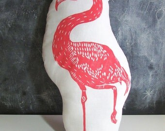Shaped Flamingo Pillow. Hand Woodblock Printed. LARGE 18 inches. Pick your colors. Made to Order.