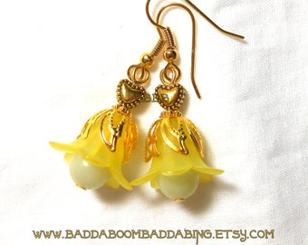 Yellow and Gold Tulip Petal Drop Earrings Surgical Steel French Hooks Option Flower Earrings