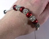 Girly Girly - Red Acrylic Large Hole Beads with Gray Rhinestone Spacers on a European Bead Bracelet