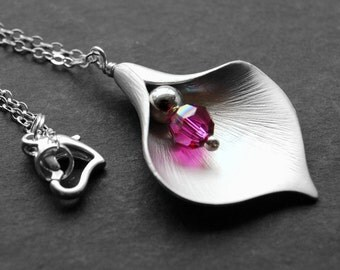 Silver Calla Lily Flower Necklace, Pink Lily Necklace, Custom Color Swarovski Crystal, Fuchsia, Magenta, Hot Pink Pendant Necklace