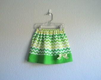 Green and White Chevron Stripes - Little Girls Skirt - Green Toddler Skirt - Size - 12m, 18m, 2T, 3T, 4T, 5, 6  or 7