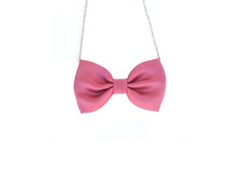 Pink Satin Bow Tie Necklace, Women Casual Bowtie