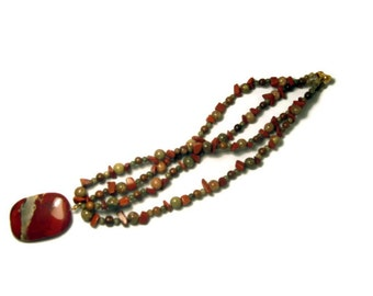 Chunky, Rich Red Beaded Necklace With Jasper Stone and Natural Wood - Earthy Crimson, Maple, Avocado, Pumpkin Tones