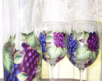 Wine Decanter Three Piece Set  Hand Painted Grapes