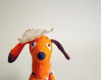 Mini Pepper - Dachshund, Sausage dog, Art toy, Dog Marionette, Felted Toy, Puppet, Marionette, dog plush. brown orange . MADE TO ORDER .