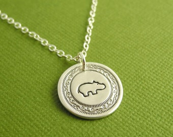 Mini Hippo Necklace, Baby Hippo Necklace, Fine Silver, Sterling Silver Chain, Made To Order