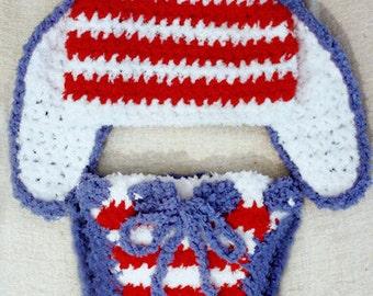 0 to 3m Newborn Bunny Hat, Newborn Boy, Newborn Girl, Newborn Hat, Hat and Diaper Cover Set, Red White Blue Patriotic Baby Hat Bunny Costume