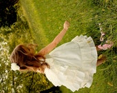 Girls Flower Girl Dress, First Communion Dress, Girls Wedding Dress, Ruffles and Lace Dress, White, Ivory, Champagne Dress, Bustle Dress