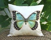 Butterfly Pillow - Vibrant Blue and Green Butterfly Pillow - Coastal Pillow - 12x 14x 16x 18x 20x 22x 24x 26x Inch Linen Cotton Pillow