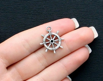 10 Ship Wheel Nautical Charms Antique  Silver Tone 2 Sided Love Boat- SC2450