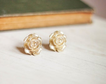 Gold Rose Earrings Rose Post Earrings Rose Stud Earrings Surgical Steel Posts Bridal Floral Accessories Shimmer Golden Flower Gift For Her