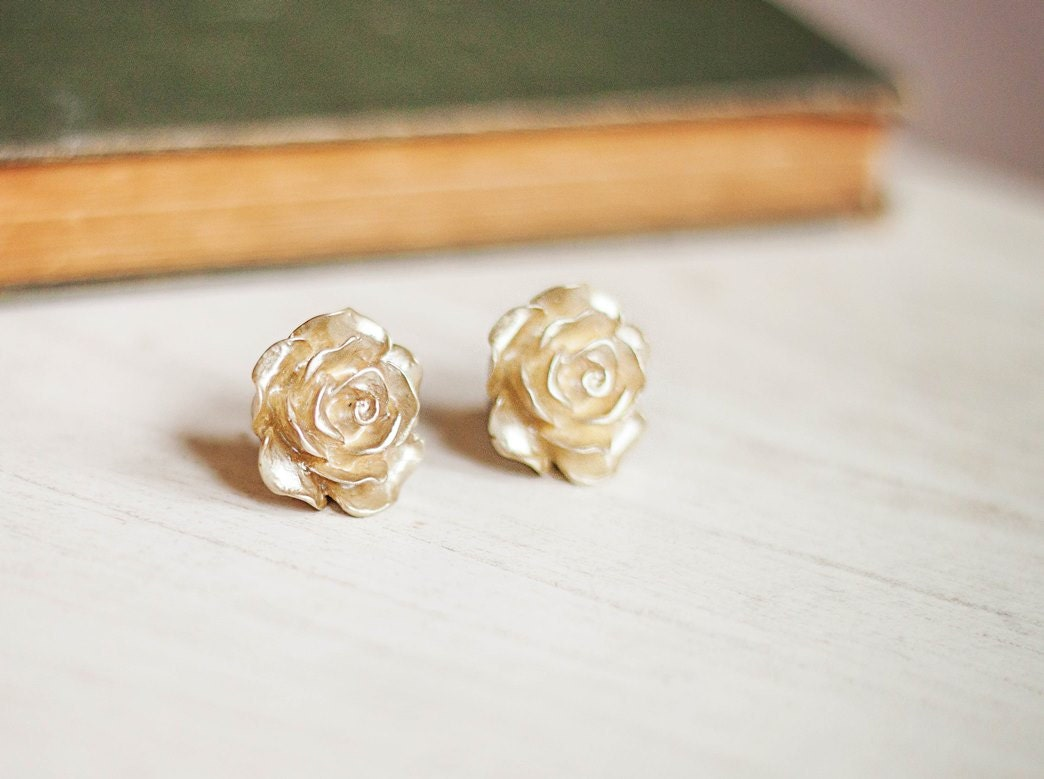 Gold Rose Earrings Rose Post Earrings Rose Stud Earrings