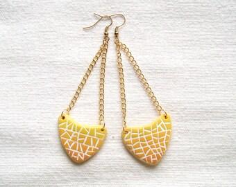 Ombre yellow mosaic arrow shaped asymmetrical geometrical dangle earrings Polymer clay fashion earrings