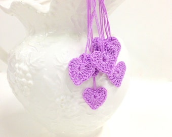 Heart Motifs, 7 Tiny Crochet Hearts, Wedding Decor, Romance, Love, Craft Supplies
