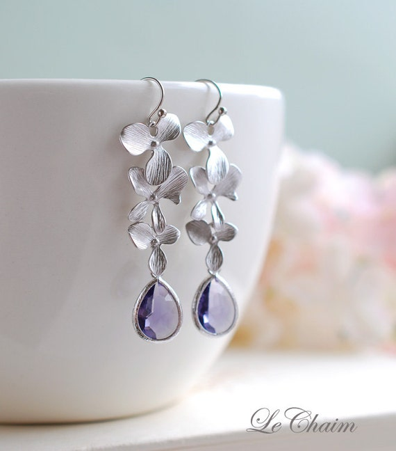 Matte Silver Orchid Flowers Trio Purple Tanzanite Teardrop Glass Earrings. Wedding Jewelry, Bridal Earrings, Bridesmaid Gift Earrings