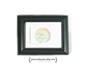 Circle Map Location in a Black Frame.5x7.
