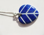 """Natural Lapis And Shell """"Anatomy Of Love"""" Pendant With Sterling Silver Chain"""