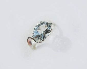 Sparkling Aquamarine In Sterling Silver Ring 1.8 Ct. Size 6.75