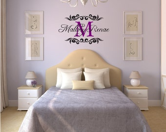 LARGE Custom Name & Monogram with Decorative Brackets - Vinyl Art Wall Decal, Name and Monogram Vinyl Decal, Wall Art Vinyl, Custom, 27x15.9
