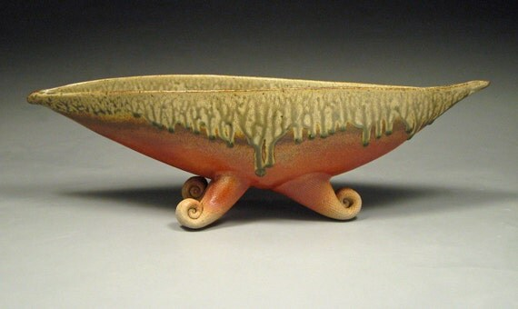 Items similar to Burnt Orange and Sage Green Boat Bowl with Feet on ...