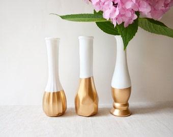 Gold Dipped Milk Glass Vase - Set of 3 vases - vintage - international buyers