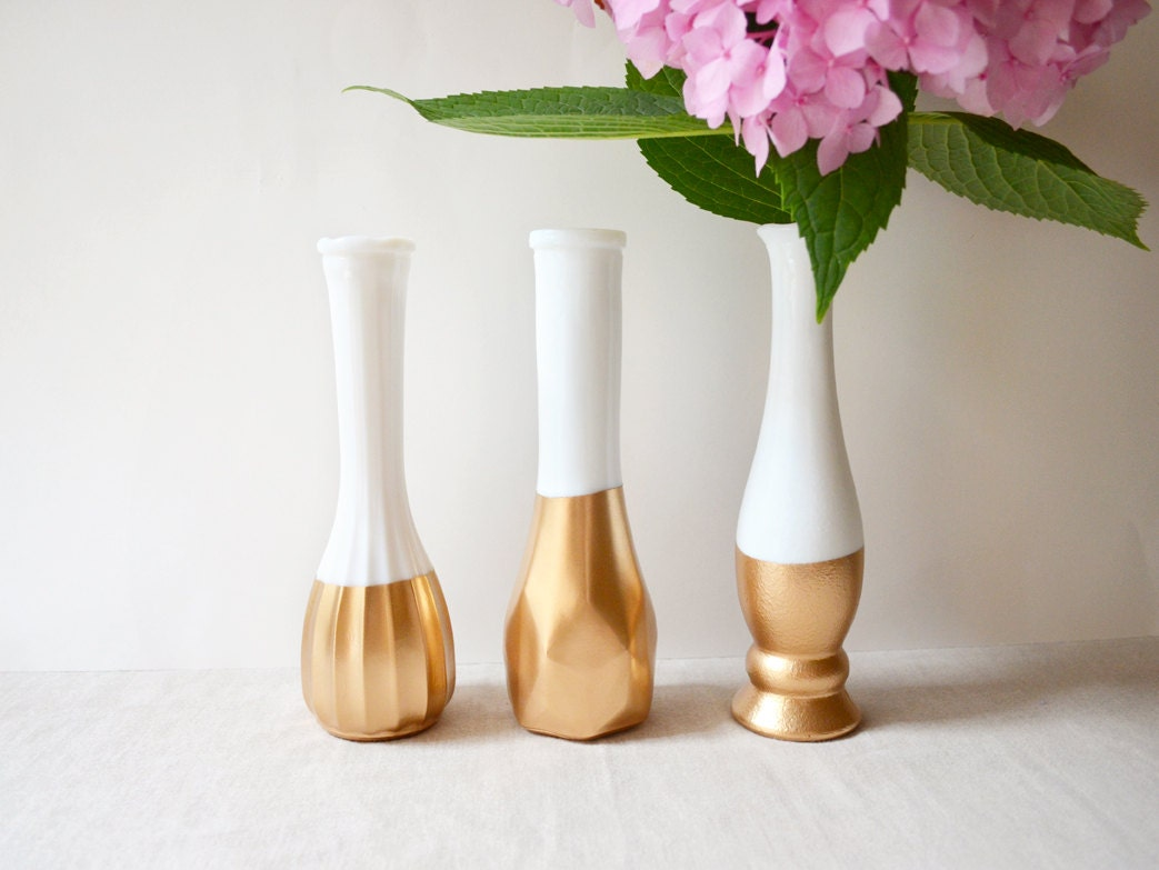 Gold dipped milk glass vase set of 3 vases vintage - Great decorative flower vase designs ...