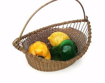 Vintage Brass Basket | Metal Basket | Basket with Handle | Gathering Basket | Brass Centerpiece | Wire Storage Container
