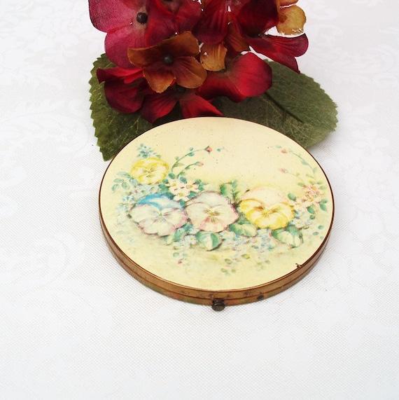 Vintage Large Powder Compact Round Mirror Loose Powder Floral Case Yellow Blue