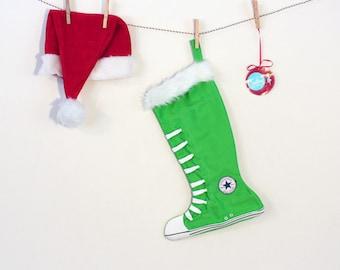 Converse Stocking:  Funky Green Holiday-Handmade Stocking