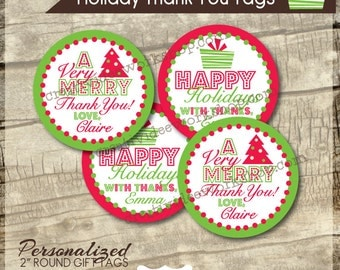 Printable Thank Yous - Personalized - Holiday Theme - Teacher Thank You Tags - Thank You Rounds