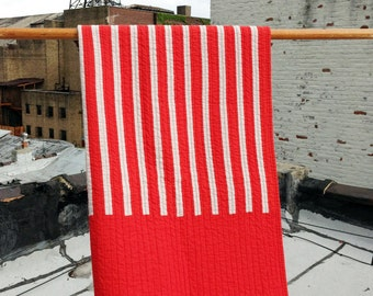 Styers Ferry crib quilt | red white striped handmade modern quilt