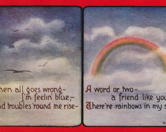 When All Goes Wrong- 1910s Antique Postcard- A Friend Like You- Rainbows in the Sky- Artist Signed FLC- Edwardian Decor- Paper Ephemera