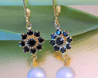 Swarovski Crystal Dangle Drop Flowers and Natural Pearls Earrings Fashion Jewelry Small