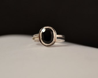 Modern Black Onyx Sterling Silver Cocktail Ring