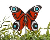 butterfly garden art - plant stake - garden decor - butterfly ornament  - ceramic butterfly - peacock - red - turquoise