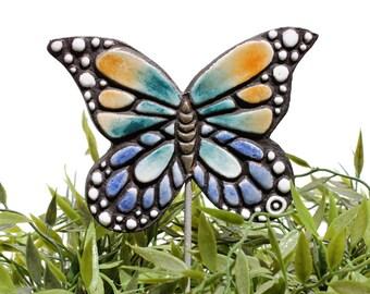 butterfly garden art - plant stake - garden decor - butterfly ornament  - ceramic butterfly - monarch - multi coloured