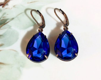 Sapphire Earrings  Sapphire Blue Crystal Rhinestone Earrings September Birthstone Fall Winter Wedding Prom