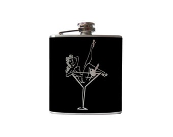 Pinup Girl Martini Glass Flask- alcohol, liquor, booze, wedding, bridal party, hip pocket- Personalized Custom - YOU pick COLOR, SIZE