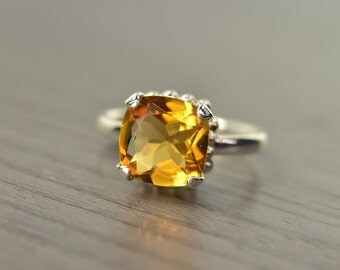 Darcy Ring, size 8.5, golden citrine 4ct, cushion prong solitaire