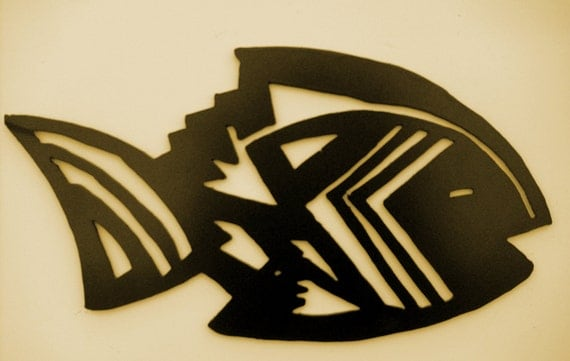 Metal Art, Southwest, Fish, Aztec, Wall Art, Office,Home Accent,SW Decor,Gift