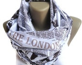 Book Scarf  infinity scarf London scarf  newspaper Women Scarf ,men scarf / fashion accessories / cotton linen scarf / unisex senoaccessory