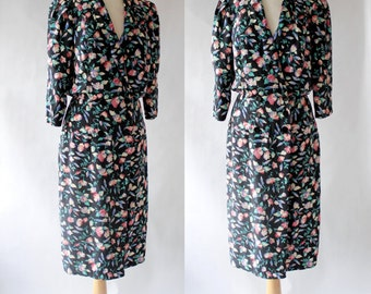 80s Dress / 80s Shirtwaist Dress / 80s Midi Dress / Floral Day Dress / John Richards