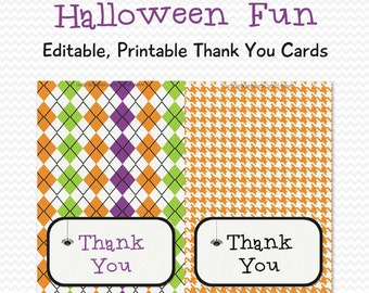 Halloween Thank You Cards, Thank You Notes, Personalized Note Cards, Halloween Party Supplies -- Editable, Printable, Instant Download