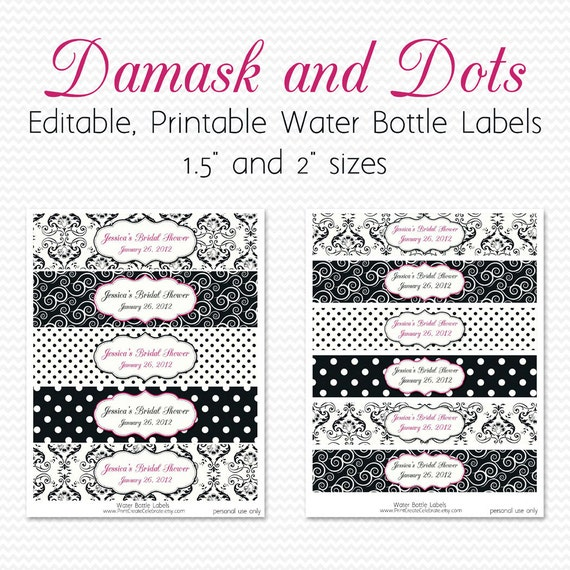 Water Bottle Labels, Black and White, Hot Pink, Damsak and Dots Birthday Party Decor, Bridal Shower Decoration -- Editable, Printable