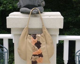 Tan Leather Hobo Handbag with Scrunched Leather Flap