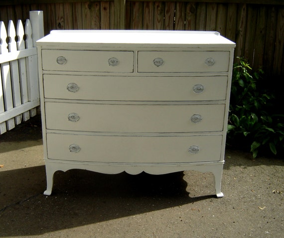 Antique white dresser shabby chic painted furniture - White shabby chic furniture ...