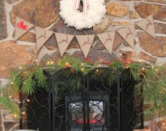 SALE! Santa and Reindeer Banner, Santa and Sleigh, Christmas Decor REVERSIBLE pennant snow