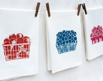 Set of Three Berry Flour Sack Dish Towels